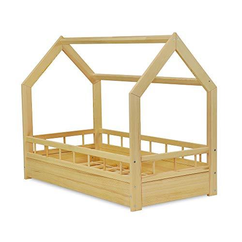 MS FACTORY Cama Infantil de Madera Pino - Cama Montessori Forma de Casa 70x140 cm para Niño y Niña - Barandilla Seguridad, Lamas Somier - Natural
