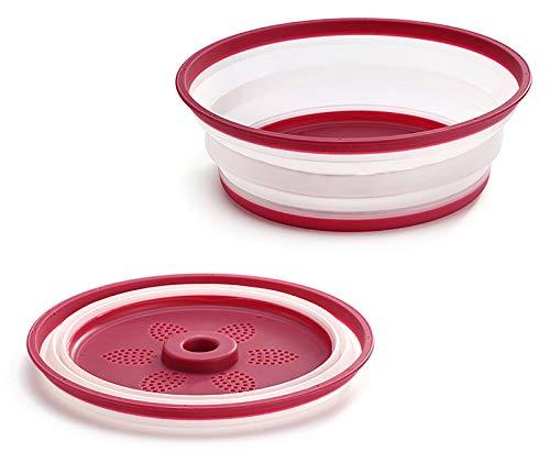 Gresunny tapa microondas plegable plástico cubierta para plato de microondas funda para microondas con salidas de vapor tapa antisalpicaduras cesta de drenaje de frutas y verduras Rojo