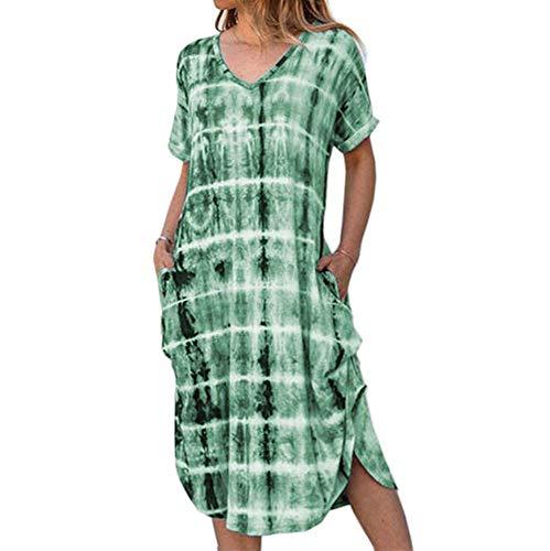 Damesjurk Korte mouwen V-hals Wijde jurk met losse vork en print Verkrijgbaar in meerdere kleuren