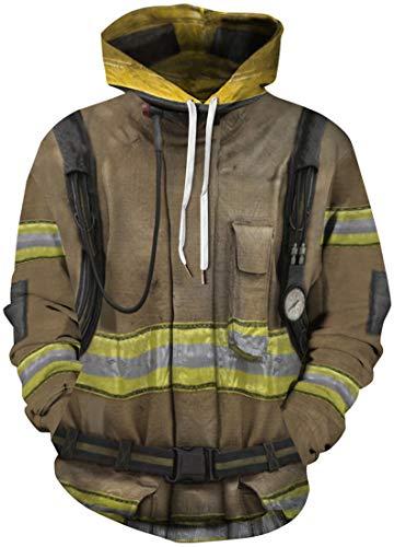 FLYCHEN Herren Kapuzenpullover Feuerwehr Pullover NASA Thema Design Pullover NASA Hoodie Space Hero Theme Hoodie(Feuerwehr 139,2XL)