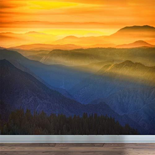 Papier Peint, Murale 3D, Coucher De Soleil Alpin Soleil Rouge Paysage Murale Simple Chambre Salon Décoration Murale, 400X288Cm