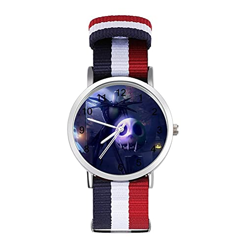 Jack Skellington Sally- Reloj trenzado con correa de moda ajustable para negocios, banda de impresión a color, adecuado tanto para hombres como para mujeres