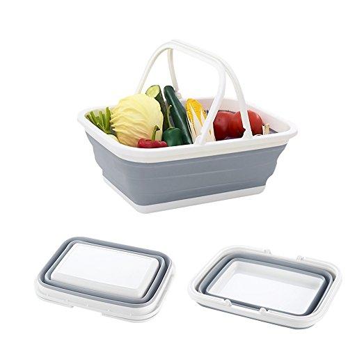 AimdonR Inklapbare kom, multifunctionele wasbak met comfortabele dubbele handgrepen voor het kamperen van huishouden