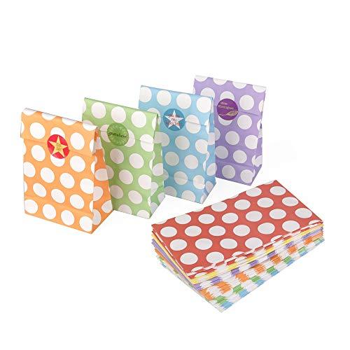 ewtshop® geschenkzakjes, 24 geschenkzakjes in 6 verschillende kleuren met witte stippen + 24 schattige verjaardagsstickers; cadeauzakje voor alle soorten geschenken, koekjes of bonbons