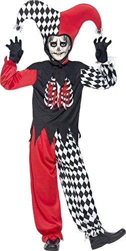 Halloween! Smiffys Kostüm Haarsträubender Hofnarr, Schwarz, mit Hose, Oberteil, Kappe und Handschuhen