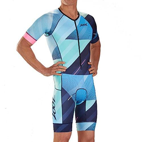 Zoot Combinaison de Course de Triathlon pour Hommes Aero Style Cali avec Manches, éléments réfléchissants, SPF 50+, Deux Poches arrière et Une Fermeture éclair de 15 cm sur Le Devant Taille L