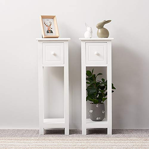 Storeinuk White Bedside Table Set of 2 Pieces, Wooden Cabinet with 1 Storage Drawers & 1 Shelf, Night Stands with Round Knob, Fully Assembled (Bedside Table with 1 Drawer & 1 Shelf)