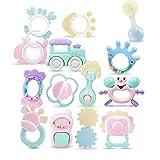 Hainice Juego de Juguetes para bebés Kit de traqueteo para niños Niño Grip Set de sonajeros Recién Nacido Early Learning Toys Regalos con Estuche para bebé 0-1 año 14pcs