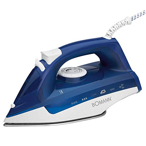 Bomann 660041 - Plancha (Plancha vapor-seco, Azul, Blanco, 2200 W, 220-240 V, 50-60 Hz)