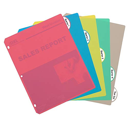 """1InTheOffice Plastic Binder Dividers, Poly Binder Index Dividers, 5 Tab Set, Assorted Colors 11""""x8 1/2"""", 2 Pack"""