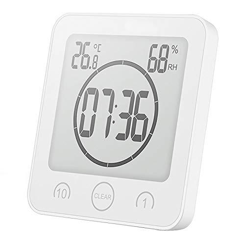 YanFeng Horloge de Salle de Bains, thermomètre numérique hygromètre LCD minuterie de Douche numérique réveil Station météo sans Fil pour Bureau à Domicile