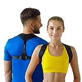 Posture Corrector for Men and Women - Adjustable Back Straightener Support Clavicle Brace for Neck, Shoulder & Back Pain (Dark Black)