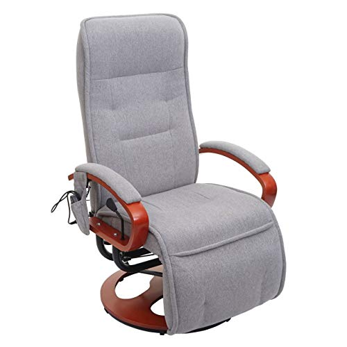 Mendler Relaxliege Arles II, Relaxsessel Massagesessel, MIT Massage Stoff/Textil - hellgrau