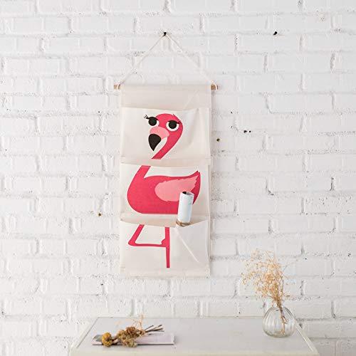Gu3Je Baumwolle Leinen Kleiderschrank mit Tasche hängen Tasche, Kinderzimmer/Tür Aufbewahrungstasche, (Cartoon) Roter Flamingo