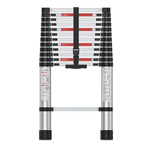 SUNCOO 12.5 FT Extension Ladder, Lightweight...