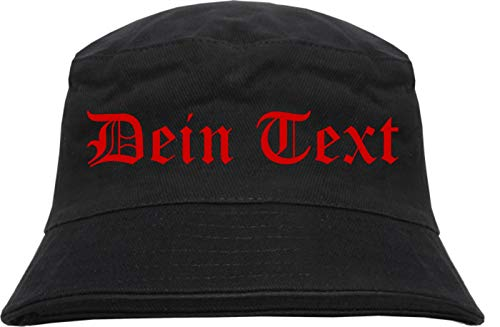 Fischerhut - Bucket Hat mit Wunschtext - Altdeutsch - Bedruckt - L/XL Druckfarbe: rot