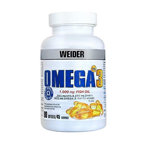 WEIDER Omega 3. 90 Kapseln. EPA und DHA. Angereichert mit Vitamin E, 200 ml