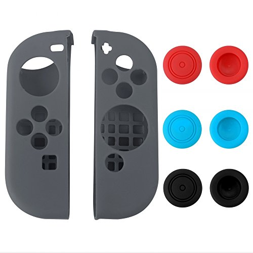 eXtremeRate Silicone Case Gel Guards for Nintendo Switch Joy-Con Controller with 3 Pairs Thumb Stick Caps Protection Kits Grey