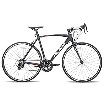 Hiland Road Bike 700c Racing Bike City Commuter Bicycle with 14 Speeds Drivetrain 55cm Black