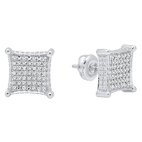 Dazzlingrock Collection 0.27 Carat (ctw) Round Diamond Micro Pave Kite Shape Stud Earrings 1/4 CT, Sterling Silver (0.25 Ct Dazzling Diamond)
