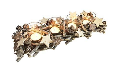 Adventskranz aus echtem Schwemm- Holz mit Sternen und Zapfen- sehr dekorative Ausführung mit 4 Glaseinsätzen