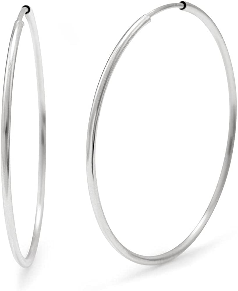Max 87% OFF Sterling Denver Mall Silver Continuous Hoop - Inch Earrings 2.5