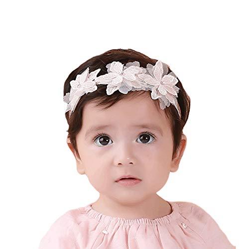 Fastone Bébé Dentelle Fleur Bandeau Stretch Headwear Dentelle Fleur Accessoire De Cheveux pour 6 Mois à 3 Ans Utilisation De Bébé 1 Pcs Rose
