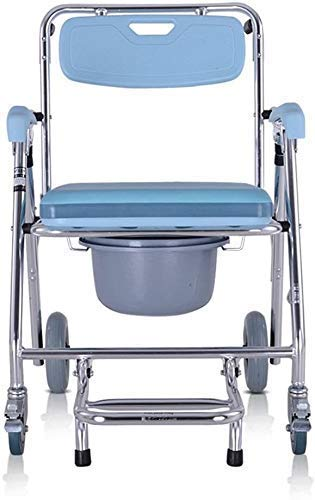 Home Drop Arm Transport Chair Commode Professional Commode Chair for Toilet with Padded Seat Removable Bath Chair with Wheel Designed for Elder People Pregnant Women 824
