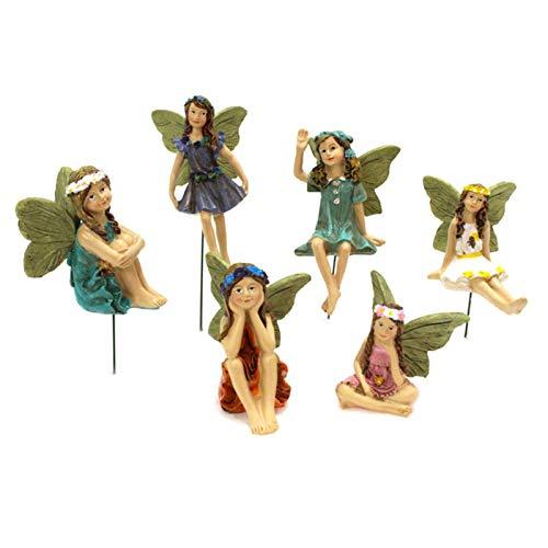 6 Piezas De Figuras De Hadas En Miniatura, Estatua De Decoración De Jardín De Hadas Casa De Muñecas Adornos De Jardín Decoración Para Tarta De Cumpleaños, Decoración Para Cupcakes, Figuras Decorativas