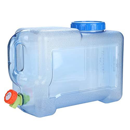 Trintion Wasserkanister 18L mit Hahn Ablasshahn Und Schraubdeckel Trinkwasserkanister Tragbarer Mehrzweckkanister Wassertank für Camping und Wohnwagen Kunststoff Blau Transparent