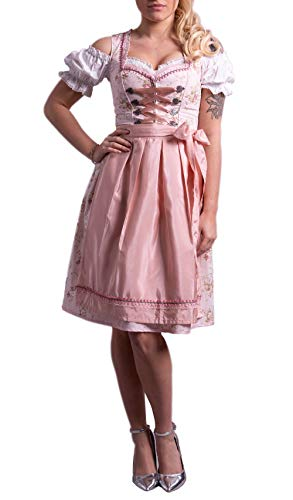 Dirndl Set Trachtenkleid Rose feingeblümt 538GT (42)