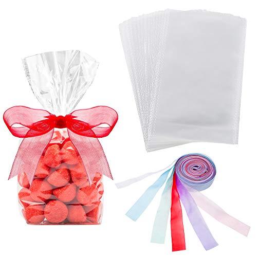 Hestya 50 Piezas 15 x 25 cm Bolsa de Celofán de Fondo de Bloque Transparente Bolsa de Dulces/ Fiesta/ Regalo/ Hogar con Lazos de Bolsa Coloridos (Estilo B)