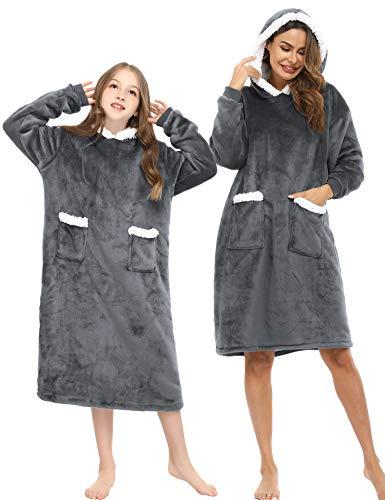 iClosam Camisón Pijamas Franela Familia Invierno Pijama con Capucha Cálido y Cómodo Ropa de Casa Casual para Hombre Mujer niños
