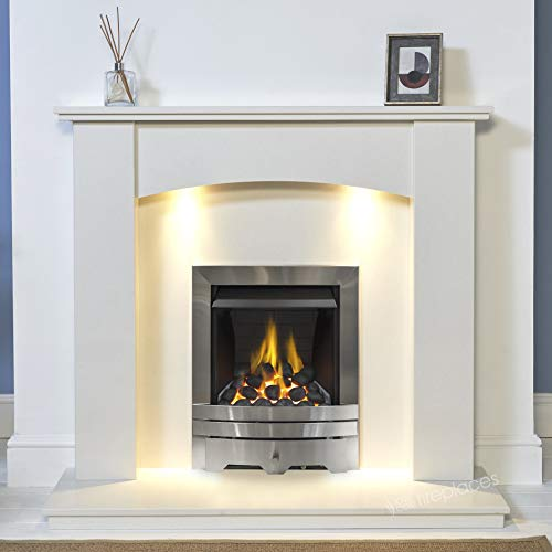White Marble Stone Modern Curved Wall Surround Gas Fireplace Suite Silver Inset Gas Fire Coals with Lights
