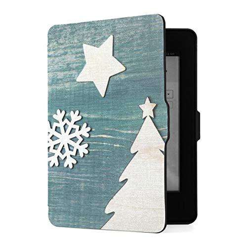 Funda Kindle Paperwhite 1 2 3, Jc Christmas Decorations Stars Snowflakes Tree On PU Funda de Cuero con Smart Auto Wake Sleep para Amazon Kindle Paperwhite (se Adapta a Las Versiones 2012, 2013, 2015)