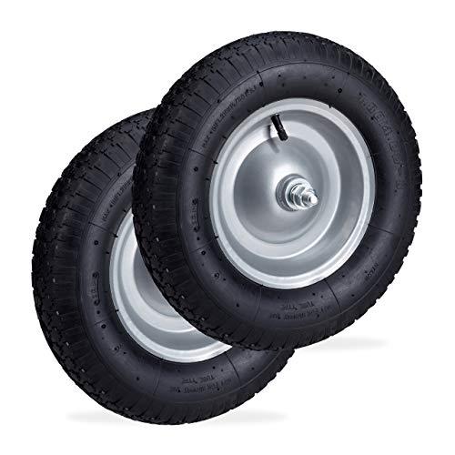 Relaxdays 2 x Schubkarrenrad 4.80 4.00-8, luftbereiftes Ersatzrad inkl. Achse, Stahlfelge, Komplettrad bis 120 kg, schwarz