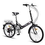 RPOLY Vélo Pliant Adulte, Ultra Léger Portable Vélo 7 Vitesses Folding Bike Bikes Vélo de Ville Pliant avec arrière Rack Carry,Black_20 inch