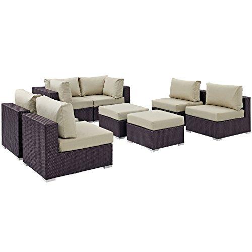 lexmod patio furniture sets LexMod Convene 8 Piece Outdoor Patio Sectional Set in Espresso Beige