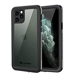 Lanhiem iPhone 11 Pro Case, IP68 Waterproof Dustproof Shockproof Case with Built-in Screen Protector, Full Body Protective Front and Clear Cover for iPhone 11 Pro (Black)