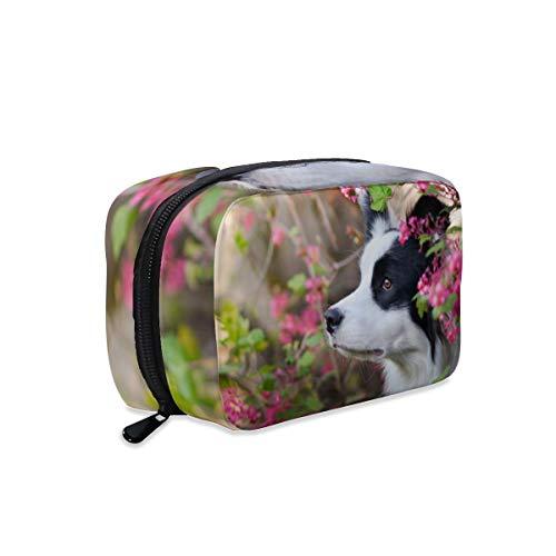 Animal Border Collie - Bolsa de maquillaje para mascotas con cremallera, bolsa de aseo de viaje, bolsa organizadora de accesorios cosméticos, bolso grande portátil para mujeres y niñas