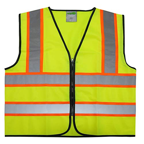 GripGlo Reflective Safety Vest, Bright Neon Color with 2 Inch Reflective Strips - Orange Trim - Zipper Front, Large