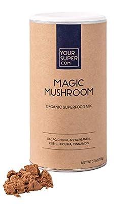 Your Super Magic Mushroom Superfood Mix - Plant Based Immunity Booster, Mood Enhancer, Stress Management Essential Vitamins, Ashwagandha, Reishi, Non-GMO, Organic Ingredients - 5.3 Ounces, 30 Servings
