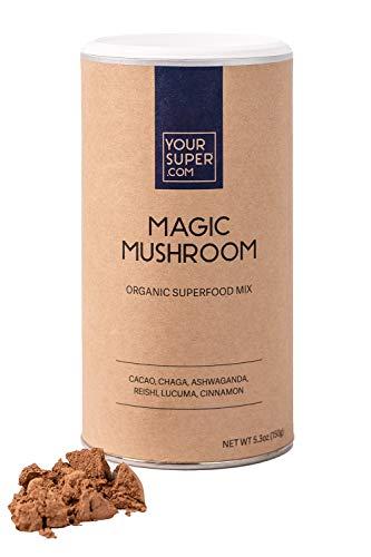 Your Super Magic Mushroom Superfood Mix - Plant Based Immunity Booster, Mood Enhancer, Stress Management - Organic Cacao, Chaga, Ashwagandha, Reishi, Lucuma, Cinnamon - 5.3 Ounces, 30 Servings