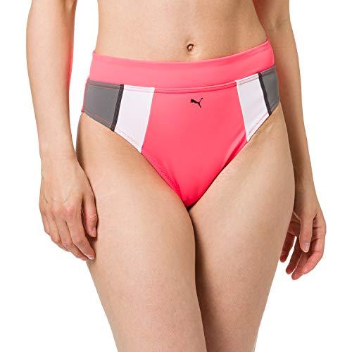 PUMA Womens Swim Women's High Waist Brief Bikini Bottoms, pink, XL