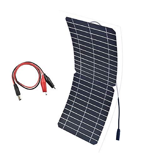 XINPUGUANG Panel Solar Flexible 10w 12v Semi Flexible Mono Cristalino Silicona PV Módulo con Cable Clip Alligator para RV, Barcos,Carga de Batería (12V)