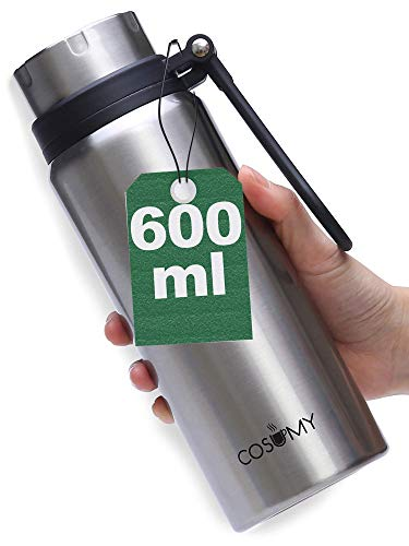 Cosumy Thermosflasche aus Edelstahl 600 ml - Auslaufsicher - Doppelwandige Isolierflasche - Kohlensäure Geeignet