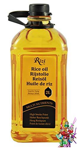 yoaxia ® Marke Set - [ 2 Liter ] RIZI Reis-Öl / Rice Oil / Reisöl aus Thailand / Hoher Rauchpunkt + ein kleines Glückspüppchen - Holzpüppchen