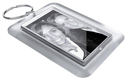 Acryl sleutelhanger om zelf te maken sets in ijslook (50 x 30 mm) incl. drukbladen om zelf vorm te geven met foto, naam, afbeelding