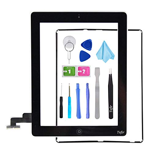 Tefir zwart vervangend scherm voor iPad 2 A1395 A1396 A1397,iPad2 Touch Screen Digitizer Front Glass Assembly -Inclusief Home Button+Camera Bracket+Voorgeïnstalleerde lijm+Frame+Tools Kit