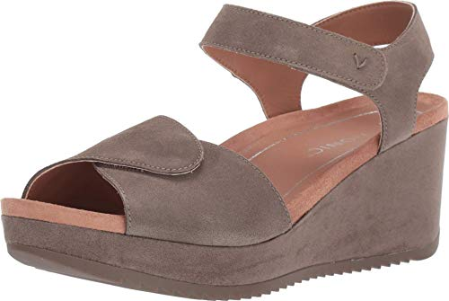 Vionic Women's Hoola Astrid II Wedges - Adjustable Sandals with Concealed Orthotic Arch Support Dark Taupe 8 M US